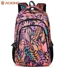 Aoking à prova dwaterproof água mochila feminina grande respirável escola dia pacote portátil saco de viagem casual náilon floral meninas mochila impressão