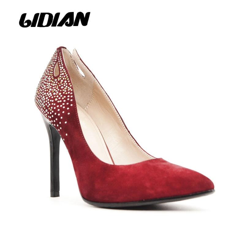 LIDIAN vin rouge femmes chaussures talons enfant daim mariage banquet robe avec multi couleur strass pompes bout pointu X10-1