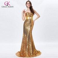 Grace karin lange gold prom dresses 2017 sexy sequin sparkly zilver prom jurken kralen strapless mermaid formele avondjurken