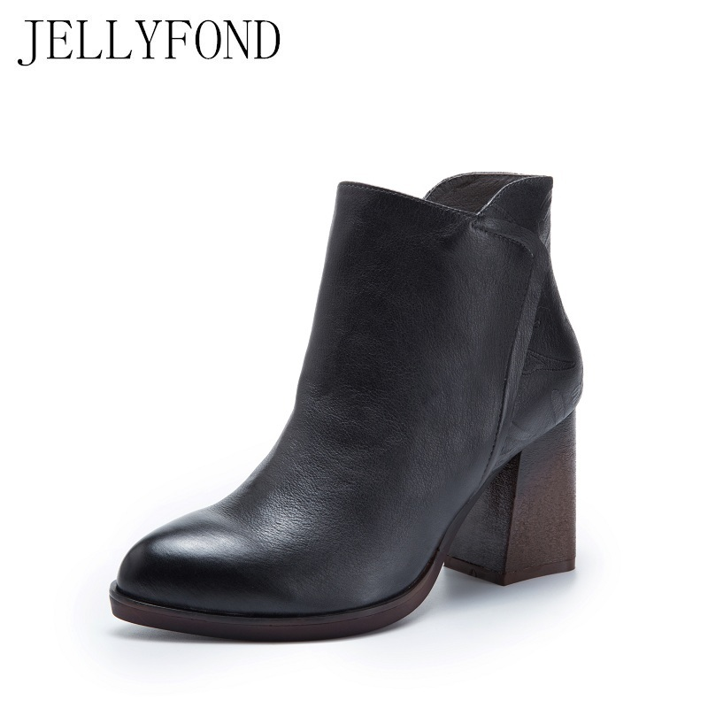Handmade Genuine Leather High Heels Ankle Boots Women Designer Pointed Toe Chelsea Boots 2017 Vintage Style Brand Shoes Woman 2017 vintage style real leather women flats brife pointed toe slip on handmade genuine leather designer shoes woman