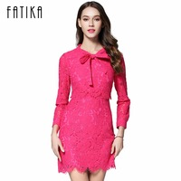 FATIKA 2017 New Women Fashion Lace Hollow Out Solid Dress Three Quarter Sleeve Stand Neck Empire