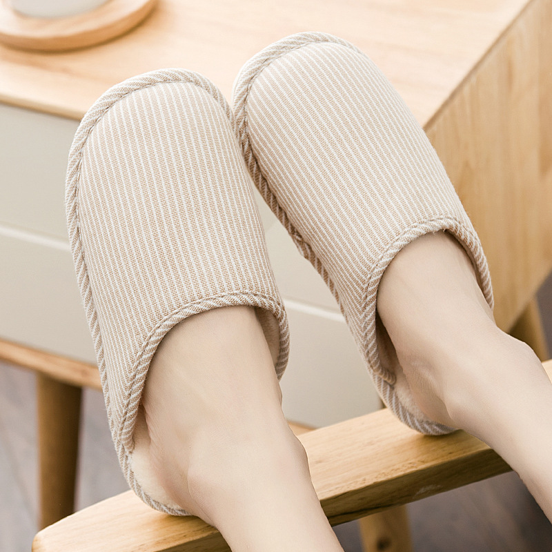 CG2 Autumn and winter solid color home indoor wood floor non-slip waterproof male and female couple plush warm cotton slippers fashion autumn and winter indoor home lovers cotton drag floor plush slippers female slip resistant