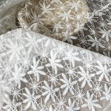 Embroidery Lace Fabric Yarn DIY Craft Garment Mesh Wedding Saree 130x50cm Wide G