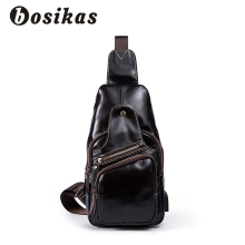 BOSIKAS Genuine Leather Men's Bags Men Messenger Bags Casual Chest Pack Leather Shoulder Bags Black Crossbody Bags for Men New