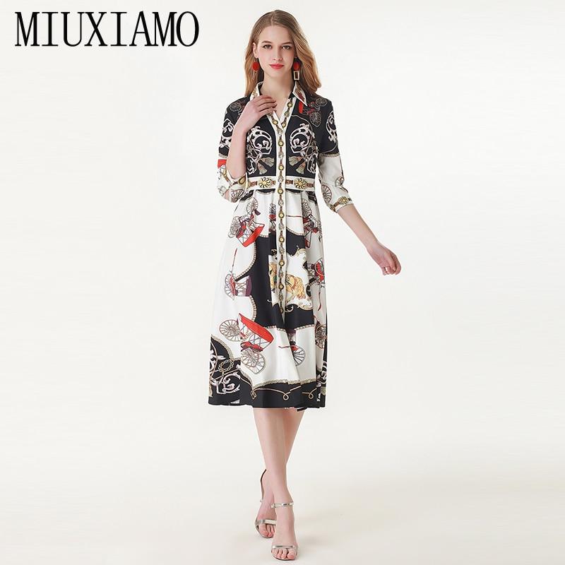 09546db188ddcb Casual 2019 Frühling Hohe Blume Vestido Eleghant Diamanten Miuximao Kleid  amp  Sommer Qualität Luxuriöse Drucken Frauen EB7naAq