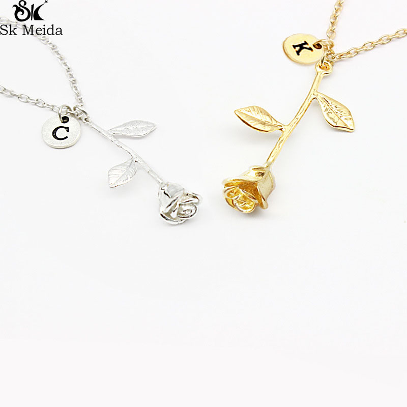 personality rose pendant necklace valentine day gift with letters exquisite pendant necklace can be customized letters - Customized Valentines Day Gifts