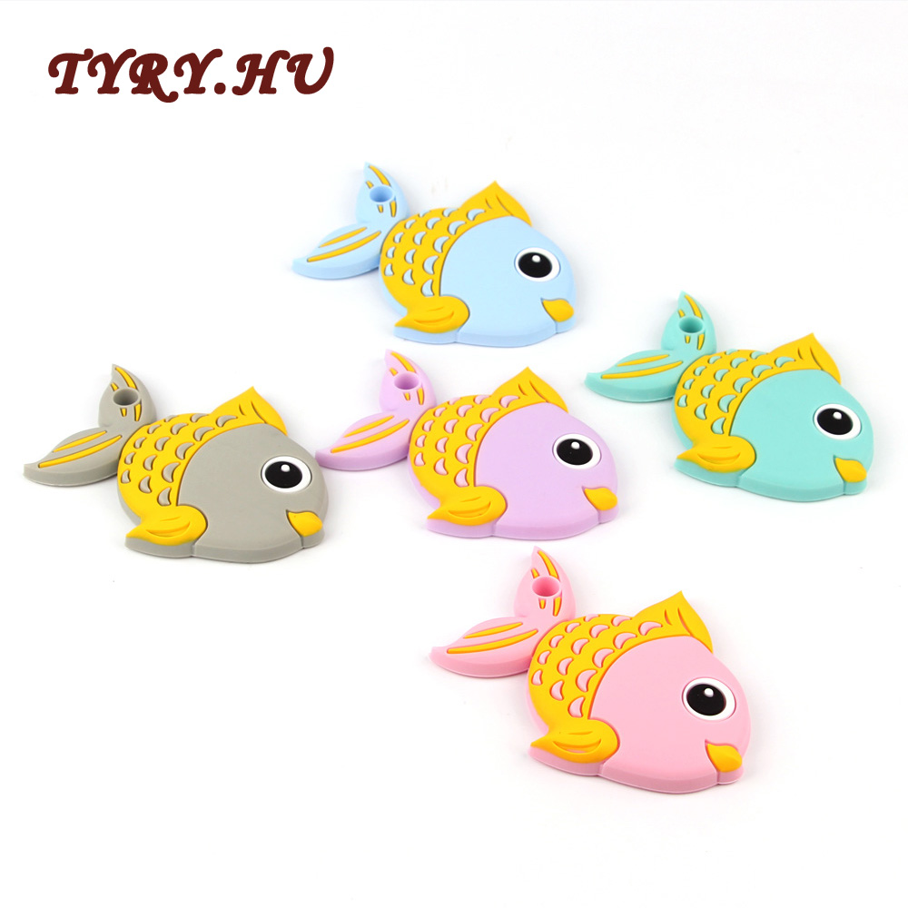 TYRY.HU Fish Teether Silicone For Baby Nursing Baby Teethers Chew Food Grade Silicone Teether Beads Toys Pendant 1pcs