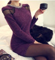 European spring new elegant ladies fashion cloth slim dress Long sleeve sexy lace stitching package buttocks dress D-0375
