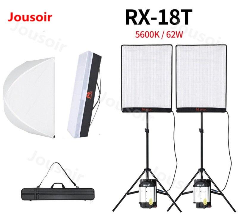 Falcon Eyes 2 pièces RX-18T 62W Flexible LED lumière vidéo 504 pièces enroulable tissu lampe avec diffuseur + sac de transport + support de lumière CD50T06Y