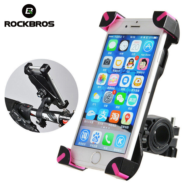 ROCKBROS Anti-Slip Universal 360 Rotating Bicycle Bike Phone Holder Handlebar Clip Stand Smart Mobile Cellphone Mount Bracket