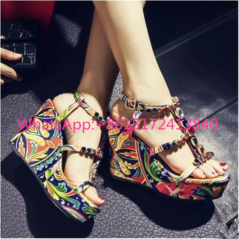 T-Strap Buckle Strap Crystal Summer Shoes Woman Print Sweet Fashion Women Rhinestone Sandals High Heels Platform Wedges Sandals