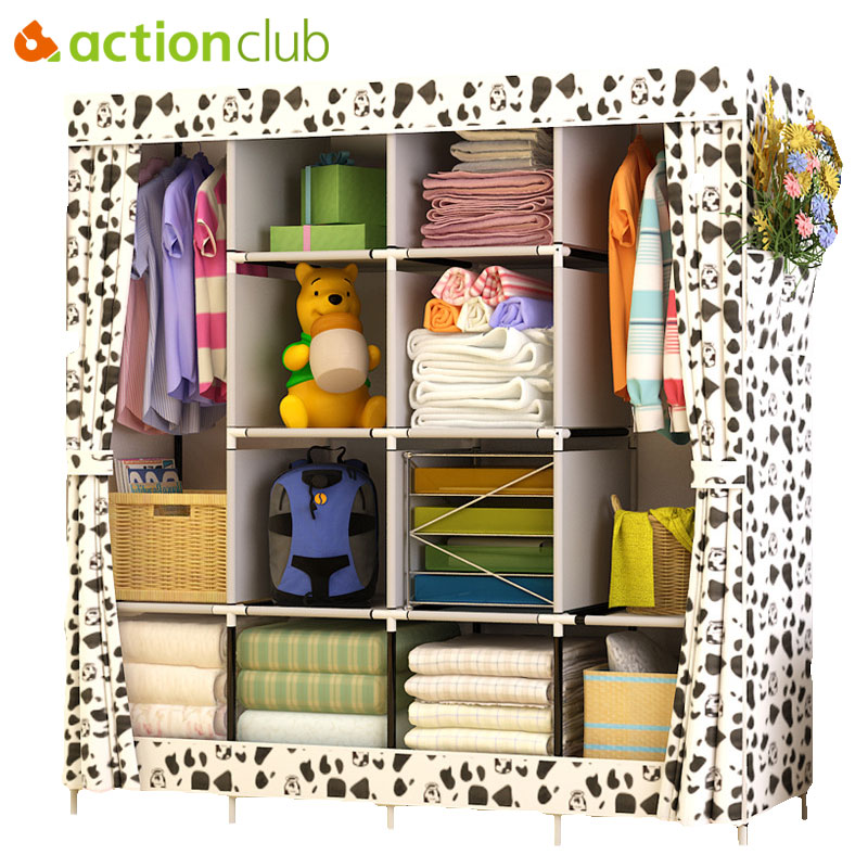 Actionclub Modern Simple Wardrobe Fabric Folding Cloth Storage Cabinet DIY Assembly Easy Install Reinforcement Wardrobe Closet