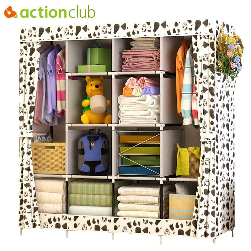 Actionclub Modern Simple Wardrobe Fabric Folding Cloth Storage Cabinet DIY Assembly Easy Install Reinforcement Wardrobe Closet