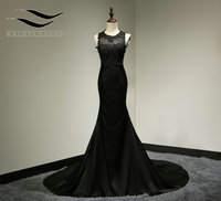 Floor Length Cap Sleeves Sexy See Through Mermaid Black Lace Prom Dress 2015 Long Evening Gown
