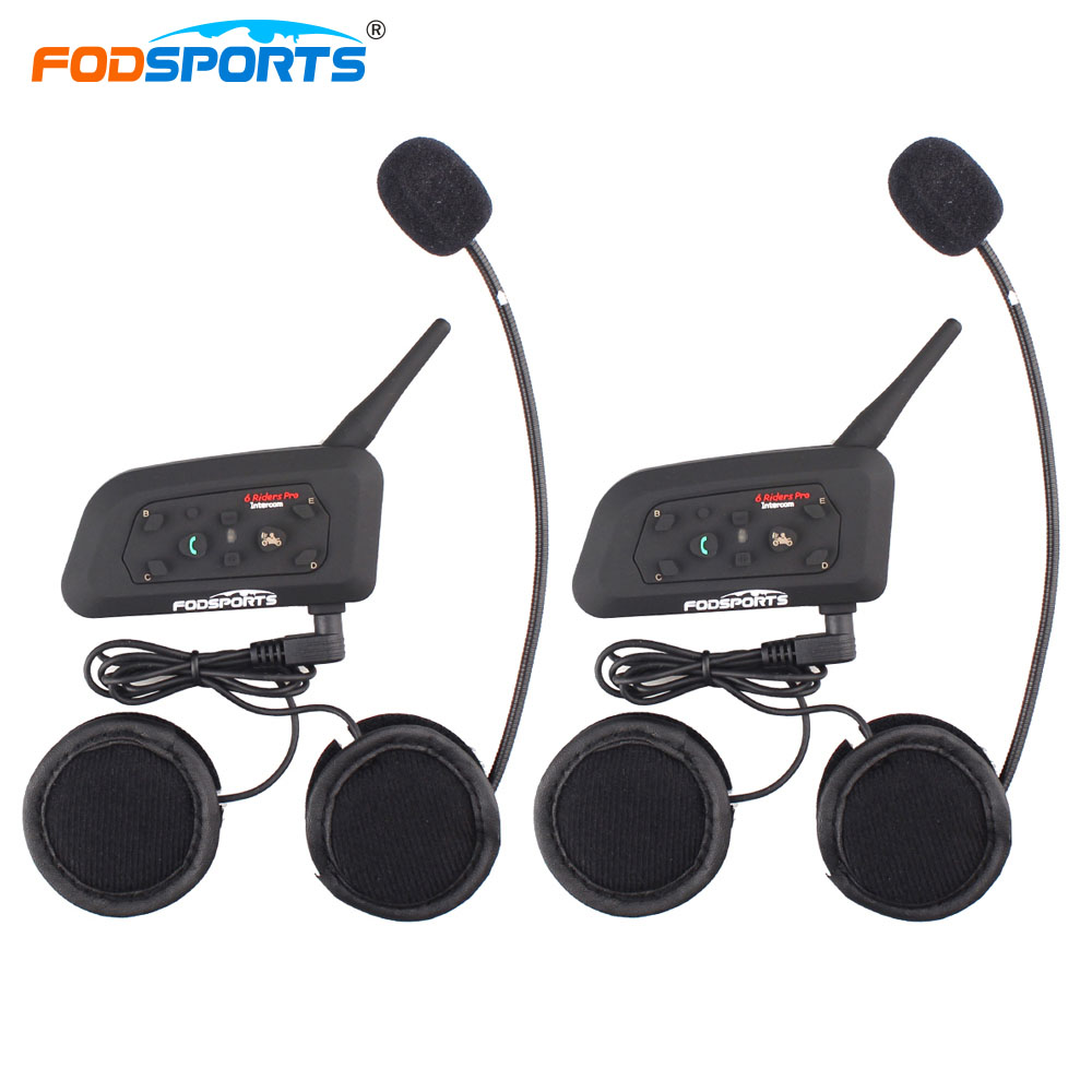 Fodsports 2pc V6 Pro Moto Bluetooth 3.0 Helmet Headset Intercom 6 Riders 1200M Interphone 7 Languages User Manual with Warranty гарнитура для шлема updated version 2 v6 bt bluetooth 1200m interfones 6 2