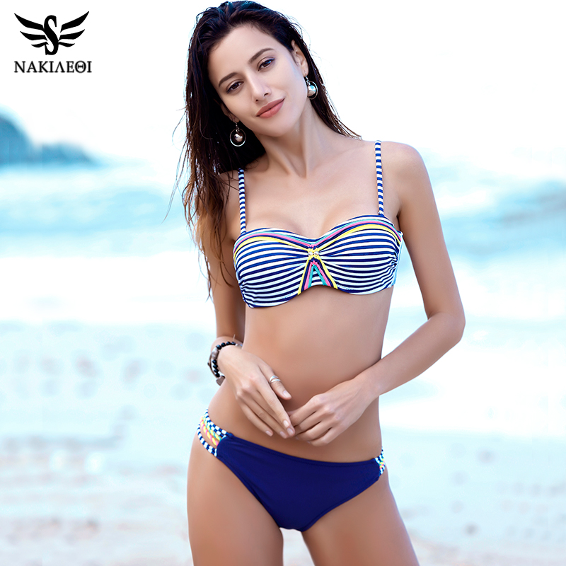 NAKIAEOI 2017 Sexy Bikinis Women Swimsuit Push Up Bikini Set Swimwear Bandage Halter Print Retro Beach Bathing Suits Swim Wear 2016 bordered sexy flowers bikinis women swimsuit bathing suits swim halter top push up bikini set beach swimwear bjn 1300