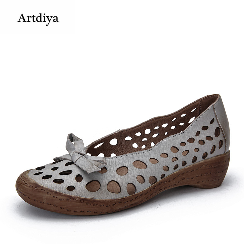 Artdiya 2018 Summer New Retro Women Shoes Simple Round Toe Genuine Leather Hollow Comfortable Shallow Mouth Handmade Shoes 7331 new summer british style genuine leather flat retro shoes women breathable women flats casual comfortable shallow shoes ny8813