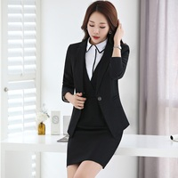 New Slim Fashion 2017 Autumn Winter Business Suits With Blazer Dress For Ladies Blazers Set Plus