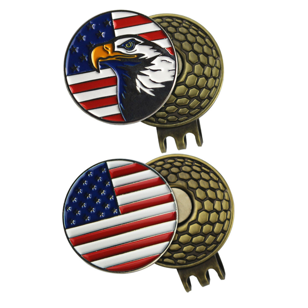 PINMEI Golf Hat Clips Ball Mark Sets 2pcs Magnetic Cap Clips And 2pcs USA Flag Golf Markers