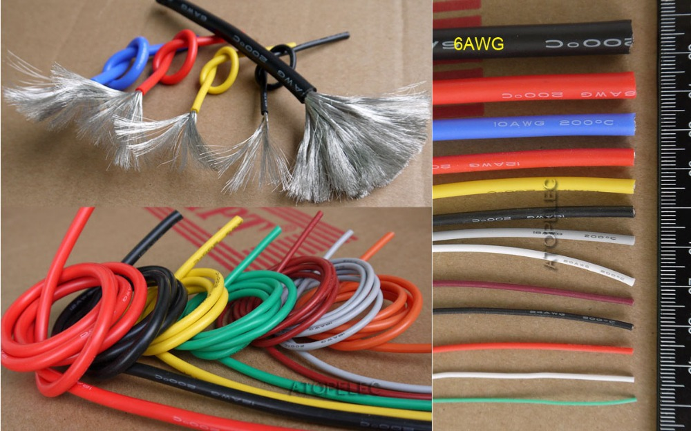 6AWG 8 5mm OD Flexible Soft Tinned Copper Silicone Wire RC Cable UL High Temperature 5