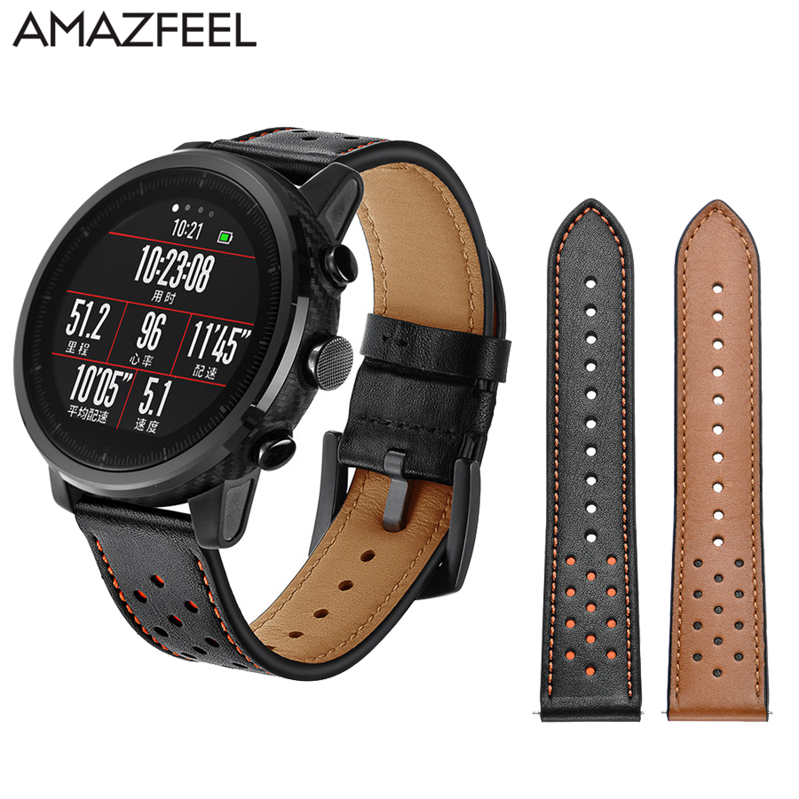 Watch strap amazfit Strap For xiaomi Huami Amazfit Stratos 2 Pace Leather Strap 22mm amazfit 2 band Original Replacement Strap huami amazfit pace replacement strap black green