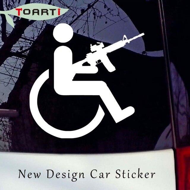 Rifle gun handicap vinyl auto sticker waterproof removable computer sticker home decor car styling man with