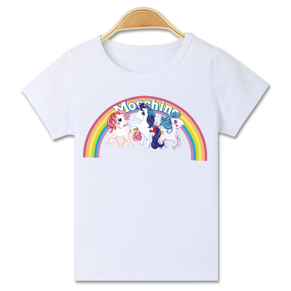 Mode casual cartoon kat paard gedrukt korte mouwen grappig t-shirt - Kinderkleding - Foto 2