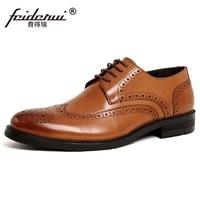 RUIMOSI British Designer Brand Platform Man Formal Dress Shoes Vintage Genuine Leather Brogue Oxfords Men S