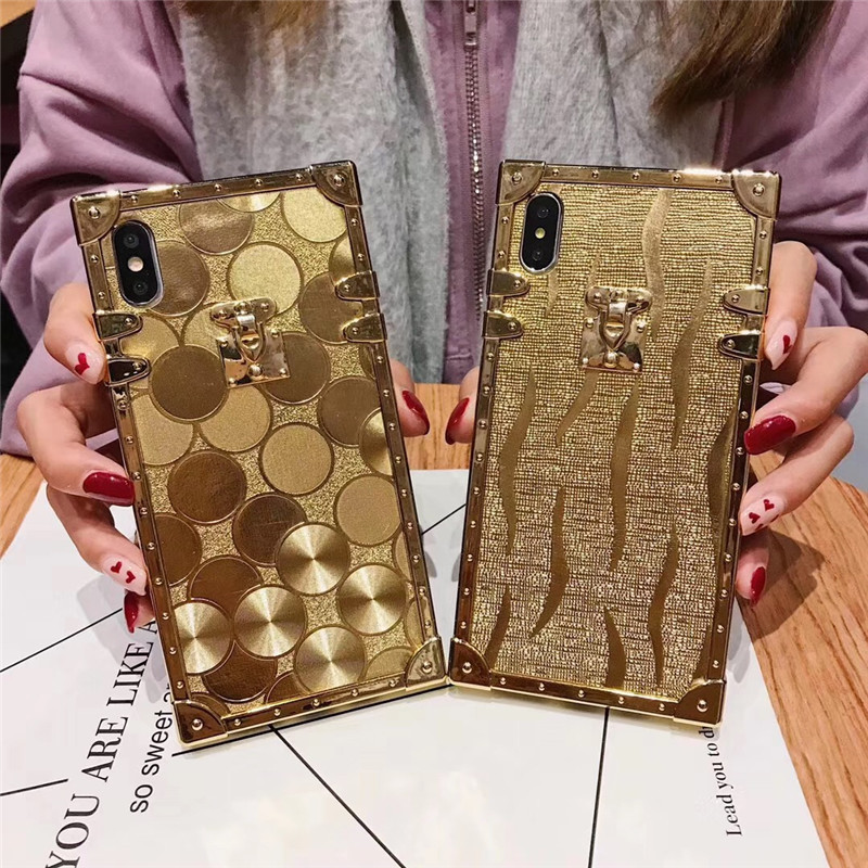 HTB1.1D6aIrrK1Rjy1zeq6xalFXao - Luxury Square Gold glitter case for Samsung S10 Plus S9 S8 3D high quality soft cover for iphone 11 Pro X XR XS MAX 6 7 8 coque