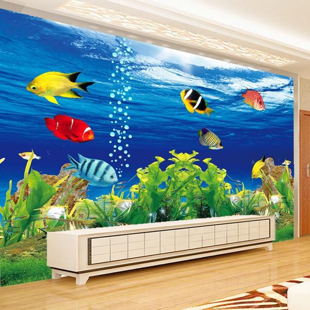 Study Room With Aquarium: Custom Photo Wallpaper 3D Stereoscopic Ocean Aquarium Sofa