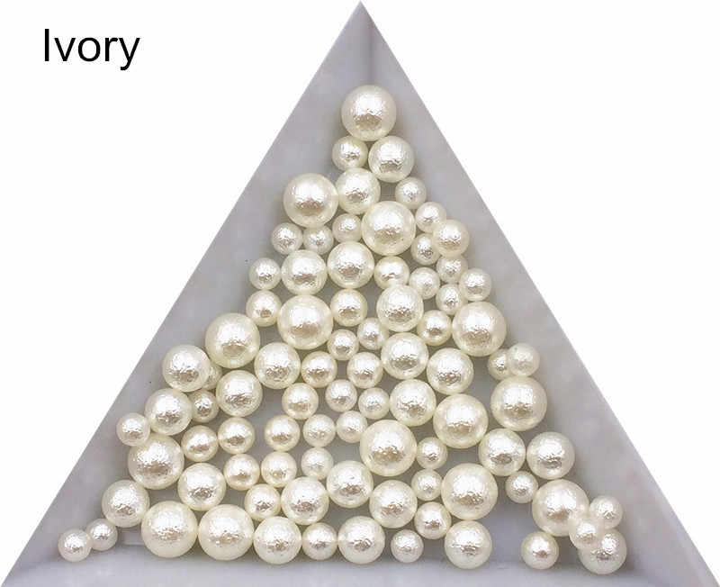 3/4/5/6/8mm White/Ivory Wrinkle No Hole Imitation Pearls Round Loose Beads Garment Handmade DIY for Jewelry Making Accessories
