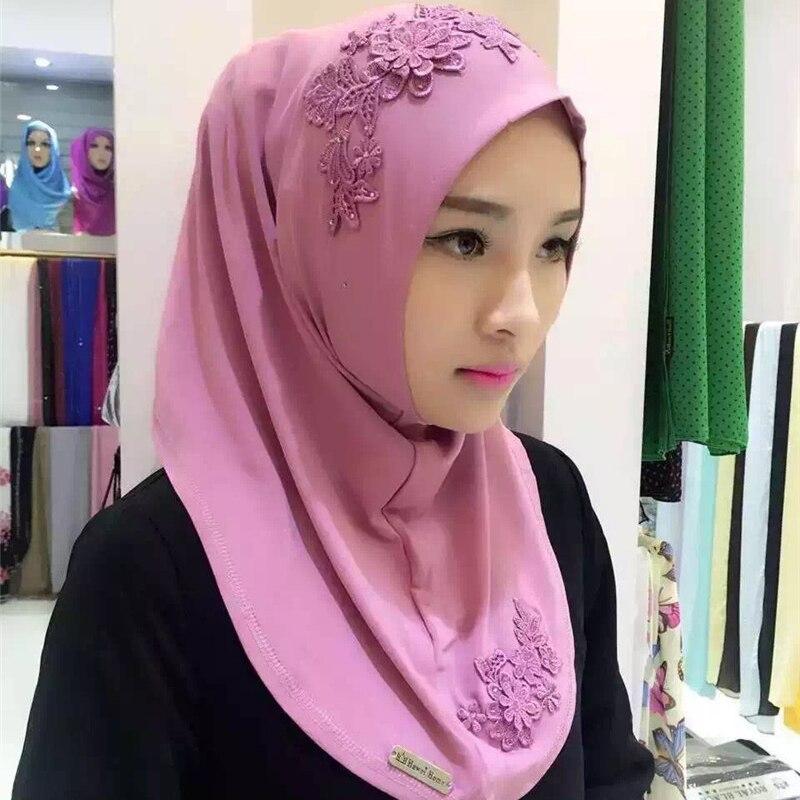 Fblusclurs Muslim Hijab Elastic Fabric Embroidery Malaysia Instant Convenient Muslima Shawl Head Wear Scarf Turban Headband
