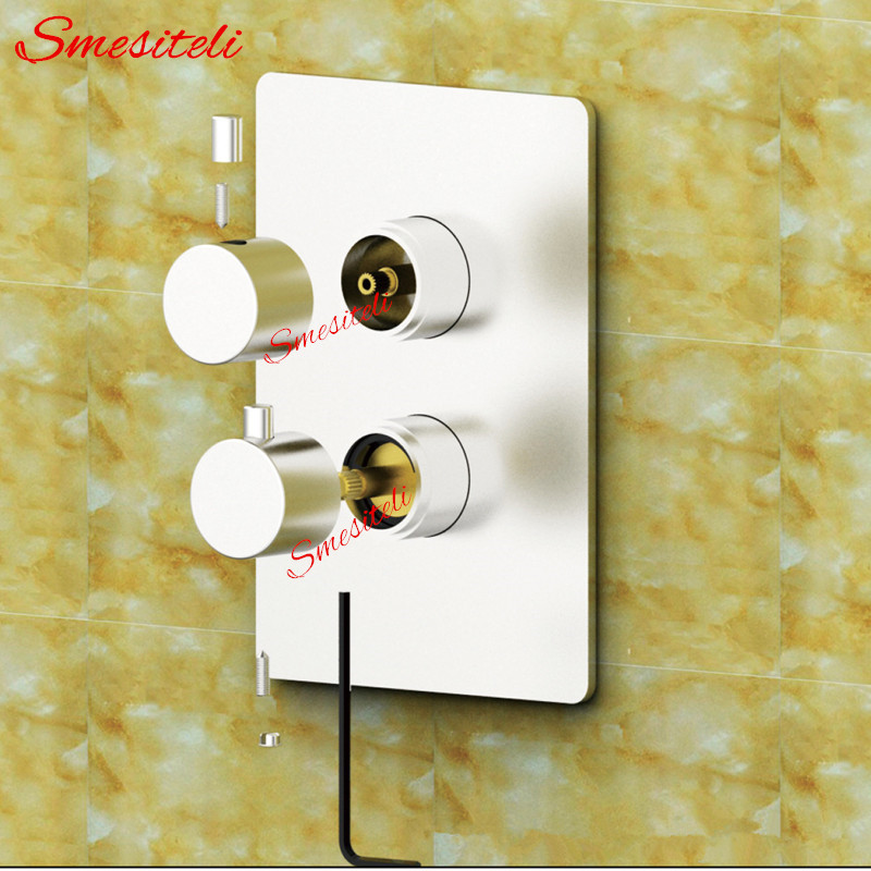 Image 5 - Wholesale Dual Handle Thermostatic Faucet Mixing Valve 2 Ways Easy mount Box Brass Concealed Valve Wall Shower Mixer Diverterfaucet mixing valvethermostat faucetshower mixer -