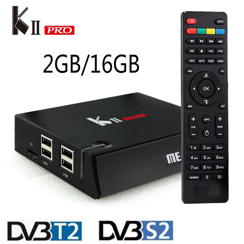 DVB T2+S2 KII Pro Android TV Box Amlogic S905 Quad-core Bluetooth 4.0 2GB/16GB 2.4G/5G Dual Wifi 4K Smart Media Player KIIPro mx plus amlogic s905 smart tv box 4k android 5 1 1 quad core 1g 8g wifi dlna потокового tv box
