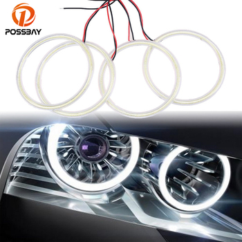 POSSBAY 4Pcs 105mm Auto Car COB Angel Eyes Headlight Halo Ring Lamp With Lampshades Kit for BMW 3 Series E46 2D Car Styling
