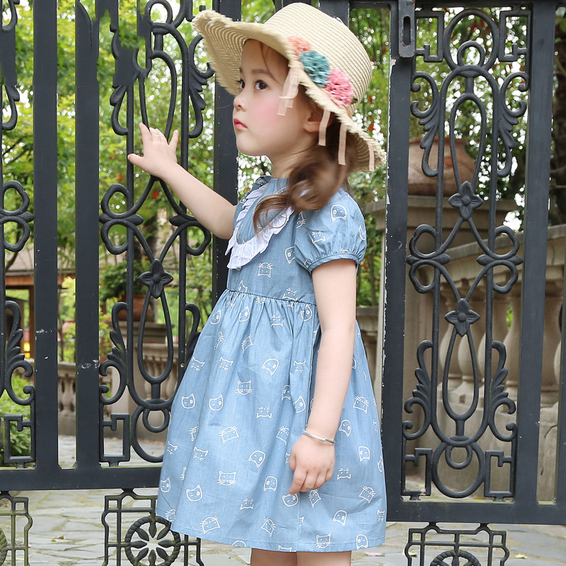 цена Baby Girls Denim Dress Cute Old Navy Style Jeans Clothes Princess Birthday Gifts Sister Clothes Age56789 10 11 12 13 14Years Old онлайн в 2017 году