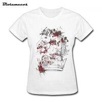 여성 T 셔츠 패션 짧은 소매 100% 면 말 혈액 크라운 Picutre 인쇄 플러스 사이즈 브랜드 의류 최고 티 WTQ094