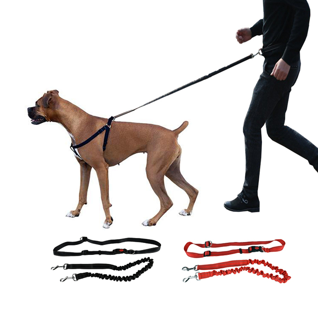 Running Pet Dog Leash Hands Free For Dogs Walking Training Leash Rope Dogs Harness Collar Jogging Leash With Waist Strap Belt