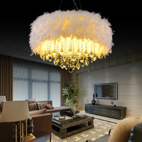 European post modern crystal romantic E27 bulb chandeliers nordic creative feather dinning room remote control chandelier lamps
