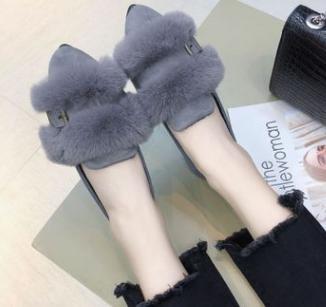 Nouveau Velours jaune Bouche Plat Chaussures Plus Fond 2018 Chaud Profonde Noir Pois Pointu Peu Coton Chaussures gris UqwfaaHd