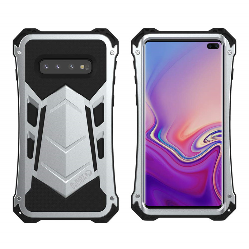 R Just Armored Element Design Case for Samsung Galaxy S10 S10 Plus Aluminum Silicone Military Heavy Duty Phone Cases Shell|Fitted Cases| |  - title=