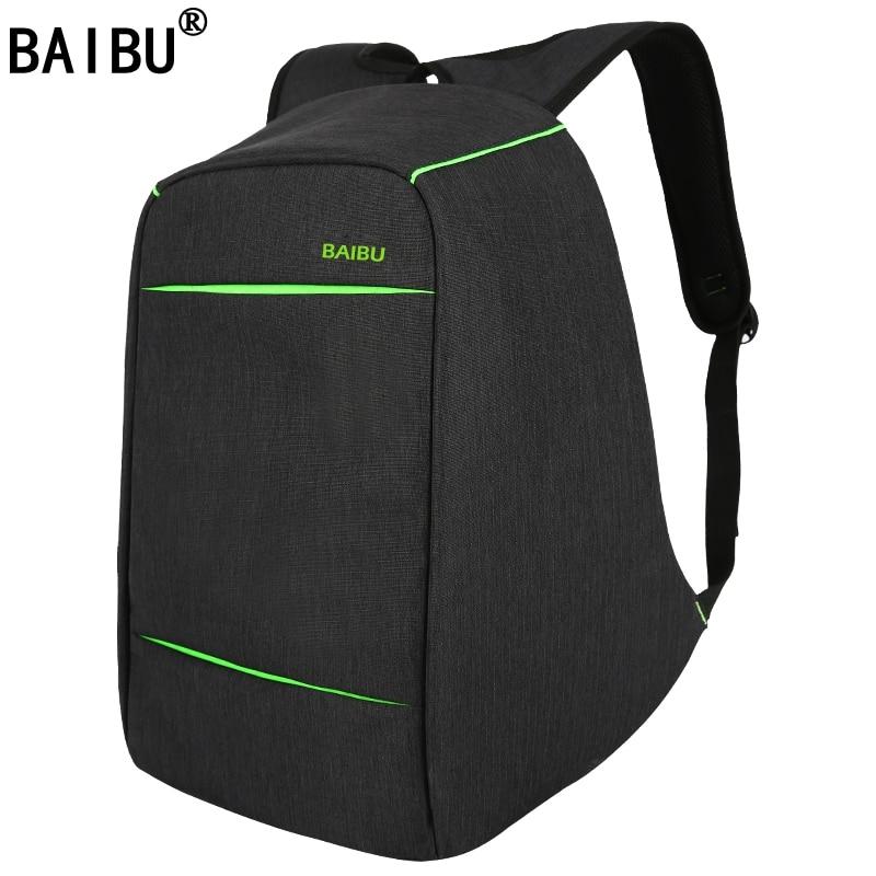 BAIBU NEW design Anti-theft USB Charging Travel Backpack Men Women school bag Large 15.6 Laptop bag with Combination Lock 2017 markryden men backpack student school bag large capacity trip backpack usb charging laptop backpack for14inches 15inches