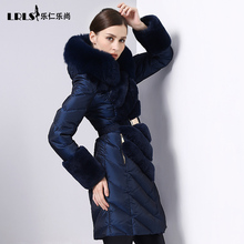 High quality luxury Royalcat 2016 Winter Jacket Women down jackets fox fur coat long down Coat women's thicken slim Outerwear