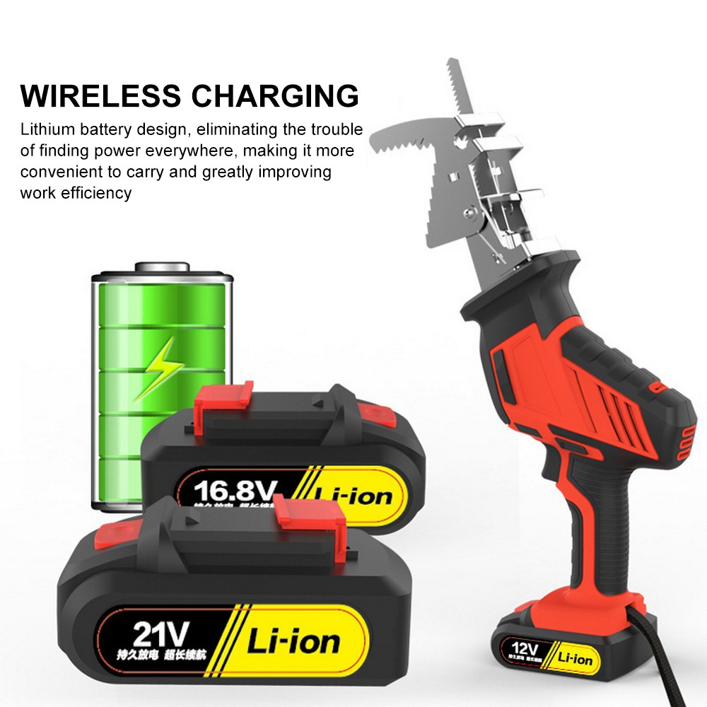12V 16.8V 21V Electric Saw with 6 Wood Cutting blades 250W Reciprocating Horse Saw Wood Metal Plasitic Pipe Cutting Power Tool