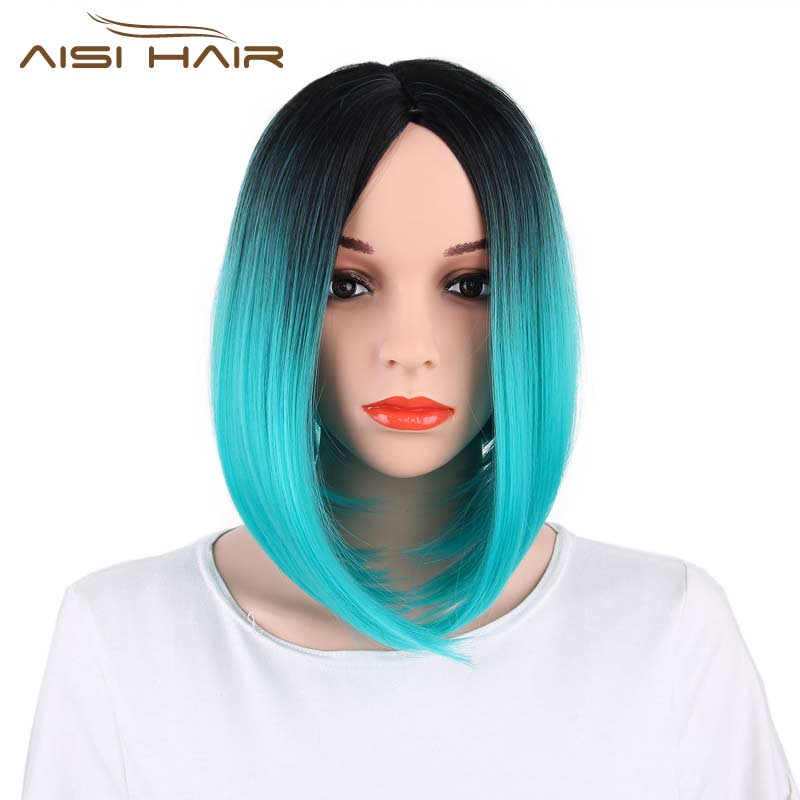 I s a wig Ombre Blue Green Pink Black Red Gray Green Bob Style Straight Synthetic