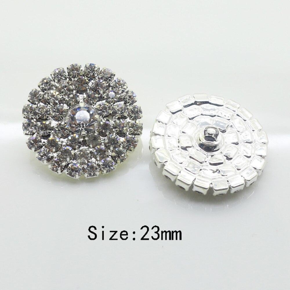 Горячая распродажа 10 шт./компл. 23 мм красивая серебряная ясно Стекло горный хрусталь Металлические кнопки швейная кнопку одежда DIY свадебные декоративные