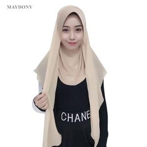 Image 1 - TJ71 新シフォン簡単イスラム教徒 Hijabs スカーフファッションスカーフボイル Musulman 固体ボンネットヒジャーブ