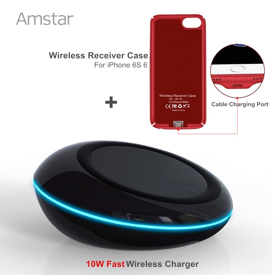 Amstar Qi Chargeur Rapide Sans Fil 10 W Qi Chargeur Sans Fil chargeur De Charge + Qi Sans Fil Chargeur Récepteur étui pour iphone 7 6 S 6