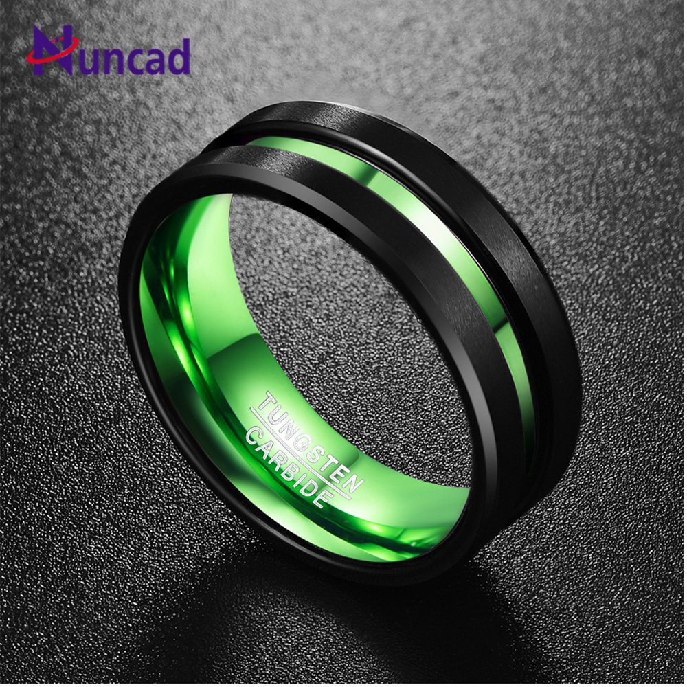 Nuncad new arrival T059R single groove green Men's ring 8MM wide tungsten steel ring with full size 7-16