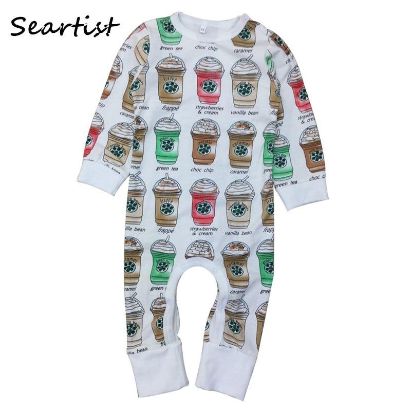 Seartist Wholesale Baby Boys Girls Cotton Romper Toddler Autumn Coffee Cups Jumpsuit Newborn Jumper 6Pcs/Lot 2018 New 40G